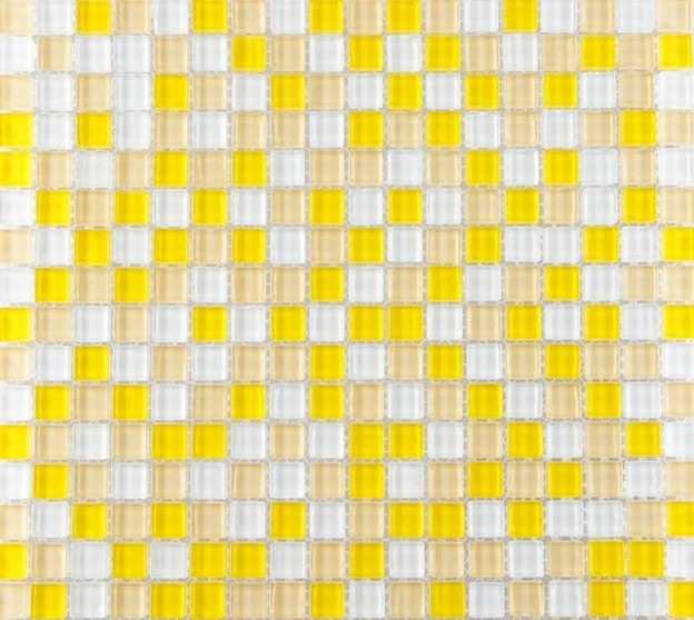Yellow And White Glass Mosaic Glossy Tile Backsplash Wall