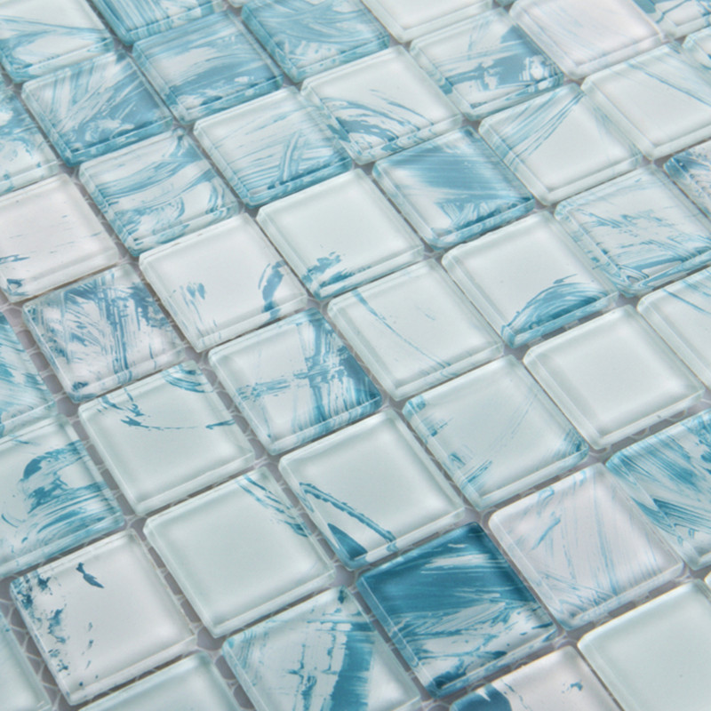Mosaic Tile Crystal Glass Backsplash Dinner Design Bathroom Wall Floor Tiles  White With Blue Painted ...