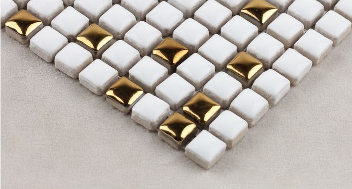 white glazeb plated mirror porcelain mosaic tiles - hb-m178