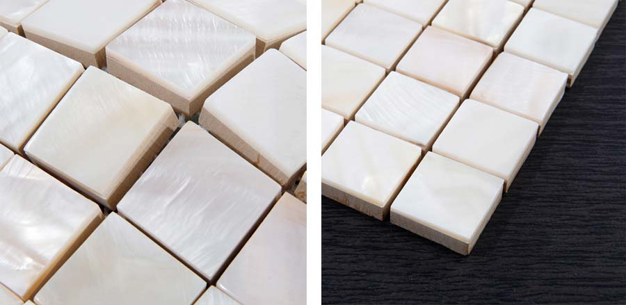 white mother of pearl tile wall backsplash details - st035